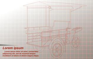 Profilo del triciclo merci su sfondo. vettore