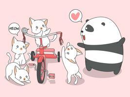Panda e gatti Kawaii con triciclo in stile cartone animato. vettore