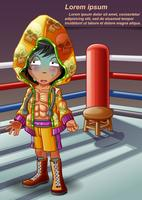 Boxer sul palco di boxe in stile cartoon.