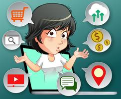Concetto di benefici di Internet in stile cartoon. vettore