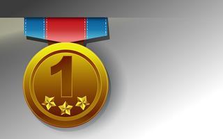 Medaglia d'oro su sfondo bianco in stile cartone animato.