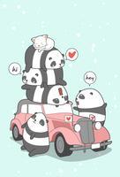 Panda e auto d'epoca in stile cartoon.