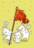 Il gatto Kawaii sta tenendo la bandiera e gli amici