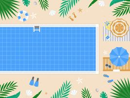 Vacanza estiva, vista dall'alto Vettore della piscina