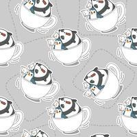 Animali senza cuciture nel modello del cappuccio del caffè. vettore
