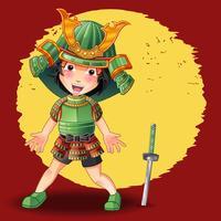 Personaggio dei samurai in stile cartoon. vettore