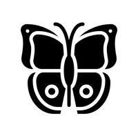 Vettore della farfalla, icona di stile solido relativa tropicale