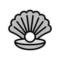 Conchiglia con il vettore della perla, icona di stile riempita relativa tropicale