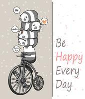 Piccolo panda kawaii con la bicicletta vintage