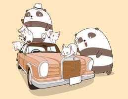 Panda e gatti Kawaii con auto d'epoca. vettore