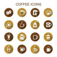 caffè icone lunga ombra vettore