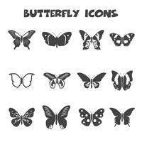 simbolo delle icone di farfalla vettore