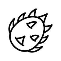 Vettore della frutta del drago, icona di stile di linea relativa tropicale