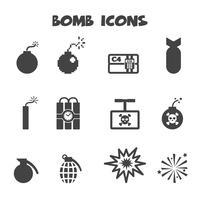 simbolo di icone di bomba vettore