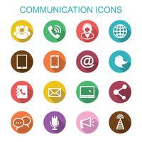 comunicazione lunga ombra icone vettore