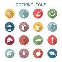 cucinare icone lunga ombra vettore