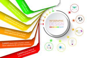 Infografica di banner colorato con sei passaggi.