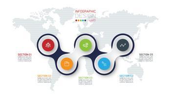 Cerchio collegato con infografica icona affari su sfondo di mappa del mondo.