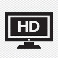 Illustrazione di progettazione dell'icona di HD tv