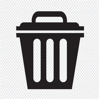 Illustrazione di simbolo dell'icona della pattumiera vettore