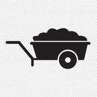Illustrazione di simbolo dell'icona del carrello della carriola