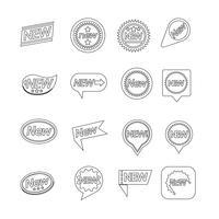 Set di etichette Nuova icona per sito Web e comunicazione