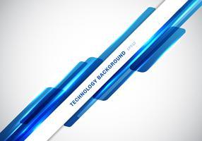 Forme geometriche brillanti blu astratte dell'intestazione astratta che si sovrappongono presentazione futuristica di stile di tecnologia commovente su fondo bianco con lo spazio della copia. vettore