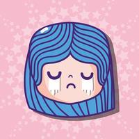 messaggio di faccia emoji cryng testa ragazza