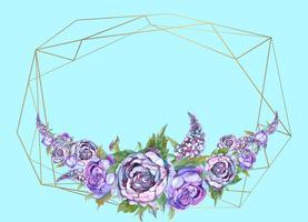 La cornice è rotonda. Rose. Oro. Illustrazione vettoriale Vettore.