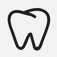 Segno di simbolo dell'icona del dente vettore