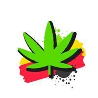 Logo medico della cannabis con il vettore di stile dell'acquerello della foglia della marijuana