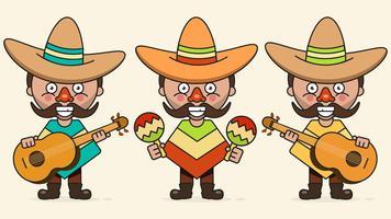 Illustrazione messicana di vettore dei musicisti con tre uomini con le chitarre nei vestiti natali e nel vettore piano del sombrero