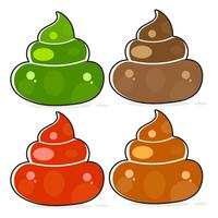 Set di Cartoon Brown Poop Variations.