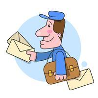 Il postino funziona consegnando l'illustrazione della lettera su fondo bianco vettore
