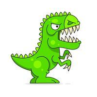 Dinosauro verde sveglio isolato su priorità bassa bianca. Personaggio dei cartoni animati divertente