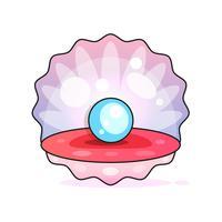 Fine di bella qualità Bella perla naturale aperto Close Up Realistico unico oggetto prezioso immagine vettoriale