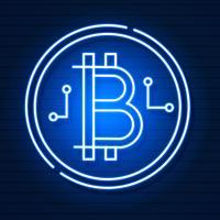Simbolo al neon di Bitcoin su effetto nero Background.light. Denaro digitale, concetto di tecnologia mineraria. Icona