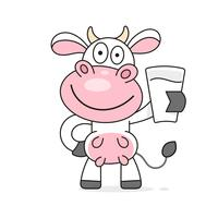Mucca con un bicchiere di latte vettoriale