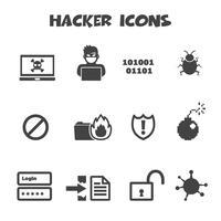 simbolo di icone di hacker vettore