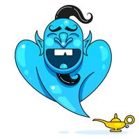 Lampada Aladino con Gin, la lampada magica di Aladino. Pronto per il tuo design, Greeting Card, Banner. Vettore