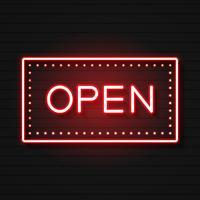 Segno al neon aperto. Pronto per il tuo design, Greeting Card, Banner. Vettore