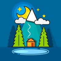 Log Cabin In The Woods Vector Icon Pronto per il tuo Design, Greeting Card