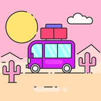 L'autobus percorre l'illustrazione del mondo per le tue esigenze
