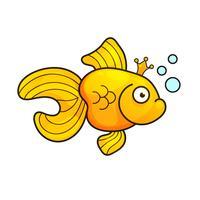 Illustrazione vettoriale isolato su sfondo Goldfish Aquarium Fish Silhouette Illustration. Icona piana del pesce dell'acquario del fumetto variopinto