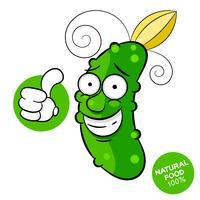 Disegno del modello di cetriolo per mercato ortofrutticolo. Un menu di scelta rapida con alimenti biologici. Verdure fresche disegnate a mano. Vettore