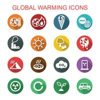 riscaldamento globale lunga ombra icone vettore