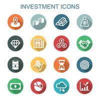investimento lunga ombra icone vettore