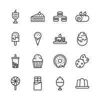 Set di icone di dessert. Illustrazione di vettore