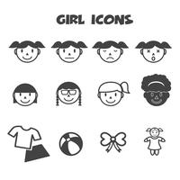 ragazza icone simbolo vettore