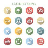 logistiche icone lunga ombra vettore